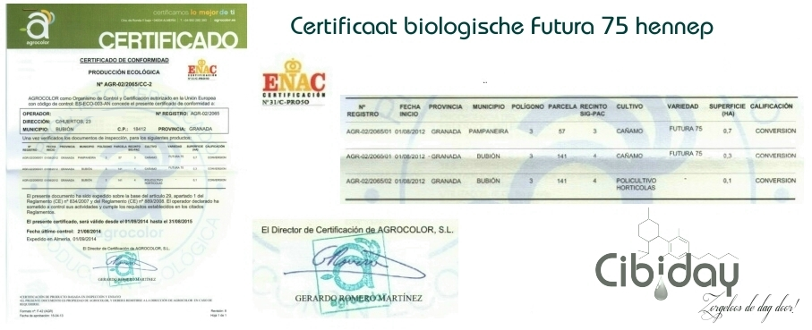 Certificaat Biologische Hennep Futura75