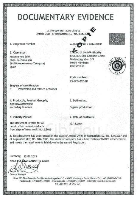 Certificaat Biologische Olijfolie 1