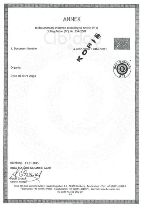 Certificaat Biologische Olijfolie 2