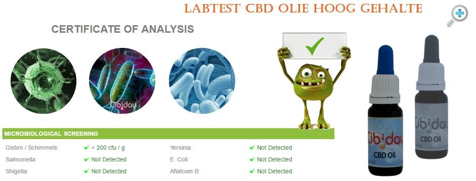 Microbiologische Test CBD Olie Hooggehalte