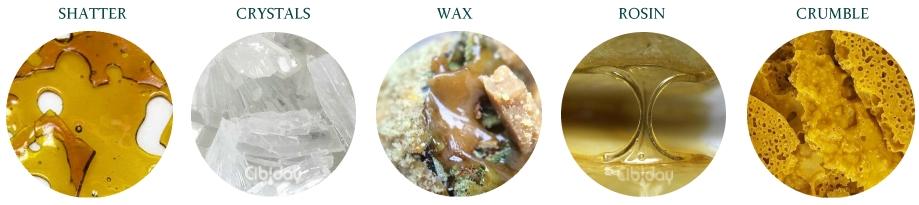 Verschillende verschijningsvormen cannabis concentraten